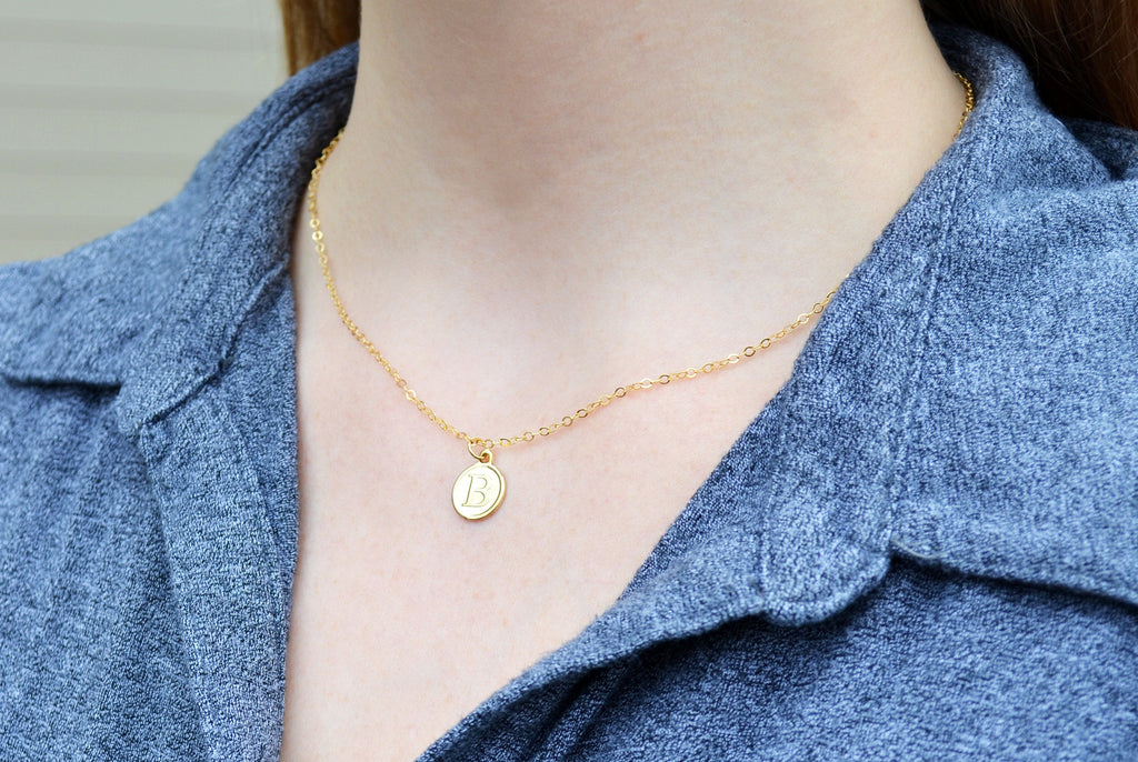Gold Letter Pendant Necklace, Initial Necklace, Personalized Layering Necklace, Graduation Gift, Bridesmaid Gift, Friend Gift, Mom Gift