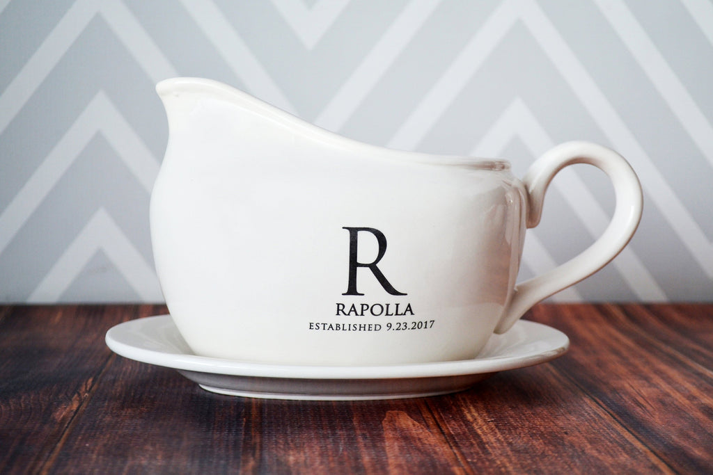 Custom Gravy Boat with Underplate, Marriage Gifts - Personalized with Name and Date