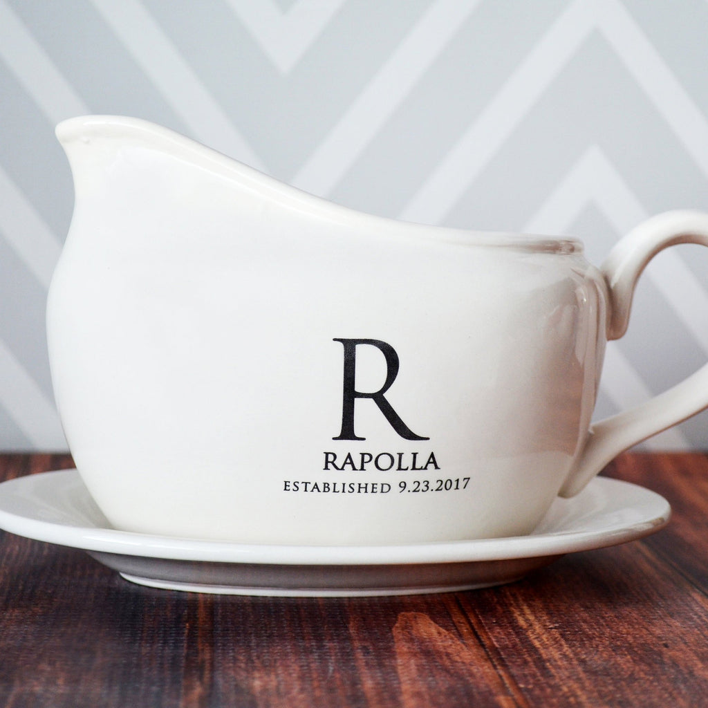 Gravy Boat with Underplate, Wedding Gifts, Marriage Gifts, Anniversary Gifts, Housewarming Gifts or Hostess Gifts - Personalized