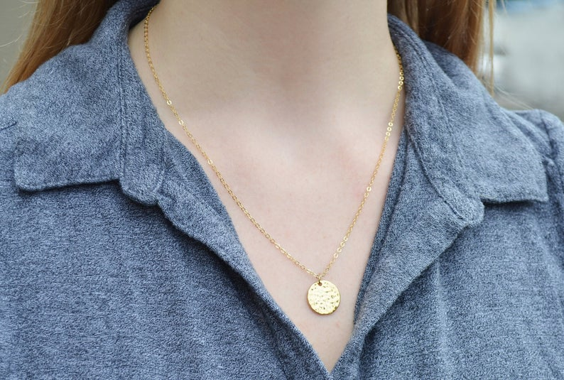 Hammered Circle Gold Pendant Necklace, Layering Necklace, Graduation Gift, Bridesmaid Gift, Friend Gift, Mom Gift, Gift for Her