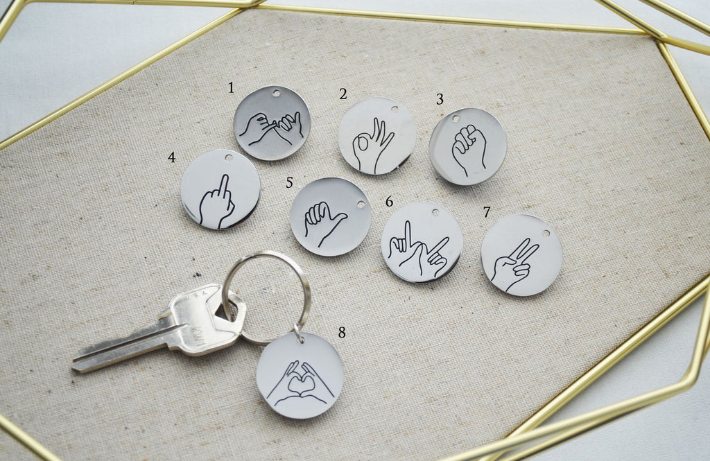 Hand Gestures Keychain, Best Friends Keyring, Friend Gift, Key Holder, Available in other Gestures