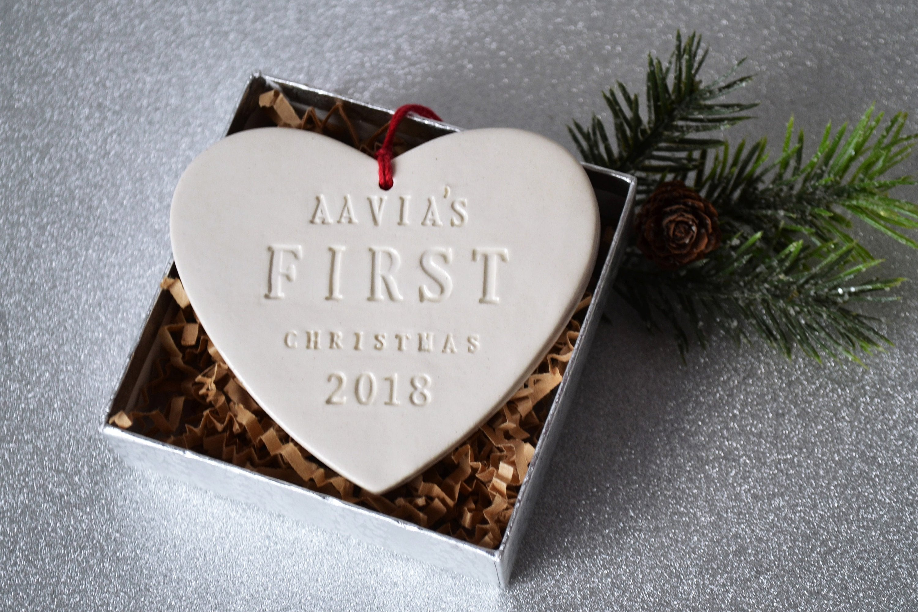 Heart Shaped Personalized Baby\'s First Christmas Ornament - Gift ...