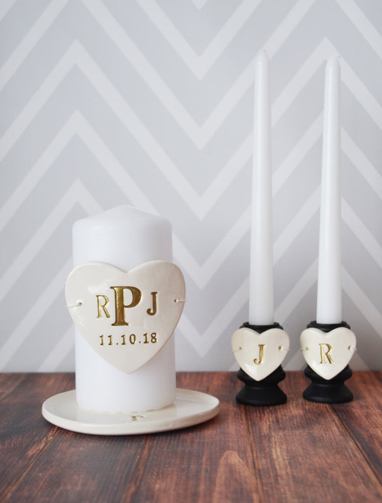 Heart Shaped Unity Candle Wedding Ceremony Set with Candle Holders and Plate - Personalized