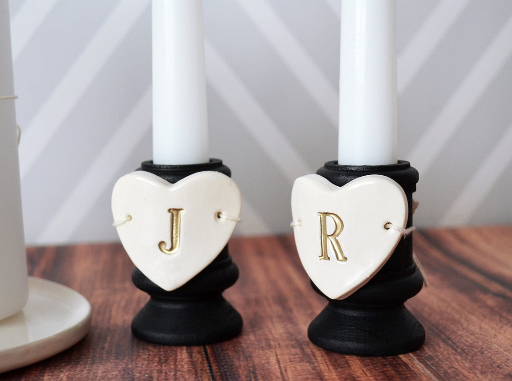 Heart Shaped Unity Candle Wedding Ceremony Set with Candle Holders and Plate - Personalized - Gift Boxed