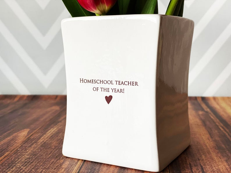 Homeschool Teacher of the Year Vase, Mother's Day Gift, Mom of the Year, Square Vase, Mother's Day Vase, Add Personalized Text