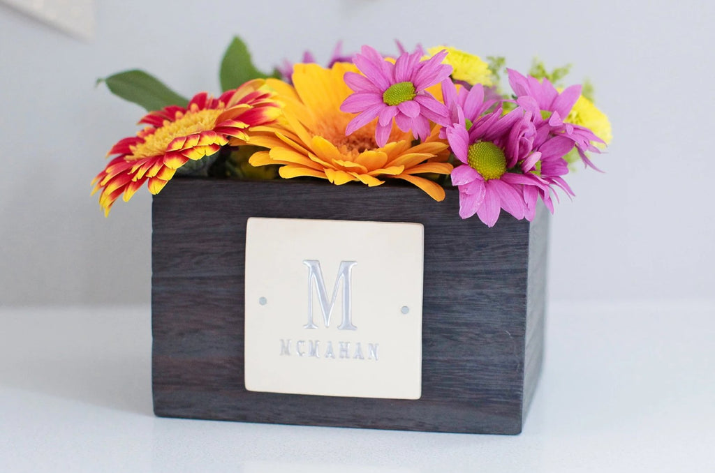 PERSONALIZED Wedding Gift - Short Kiri Wood Vase with Initals
