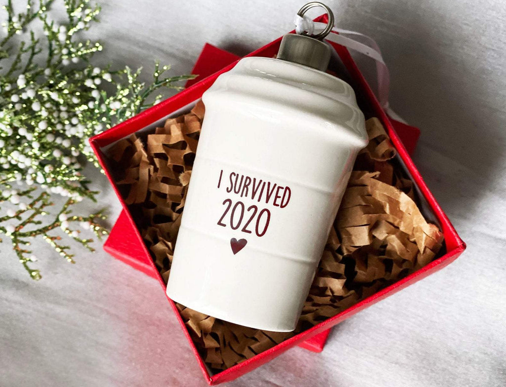 I Survived 2020 Christmas Ornament, COVID Ornament, Coffee Mug Ornament, Funny Christmas Ornament, Coffee Lover Gift, Funny Christmas Gift