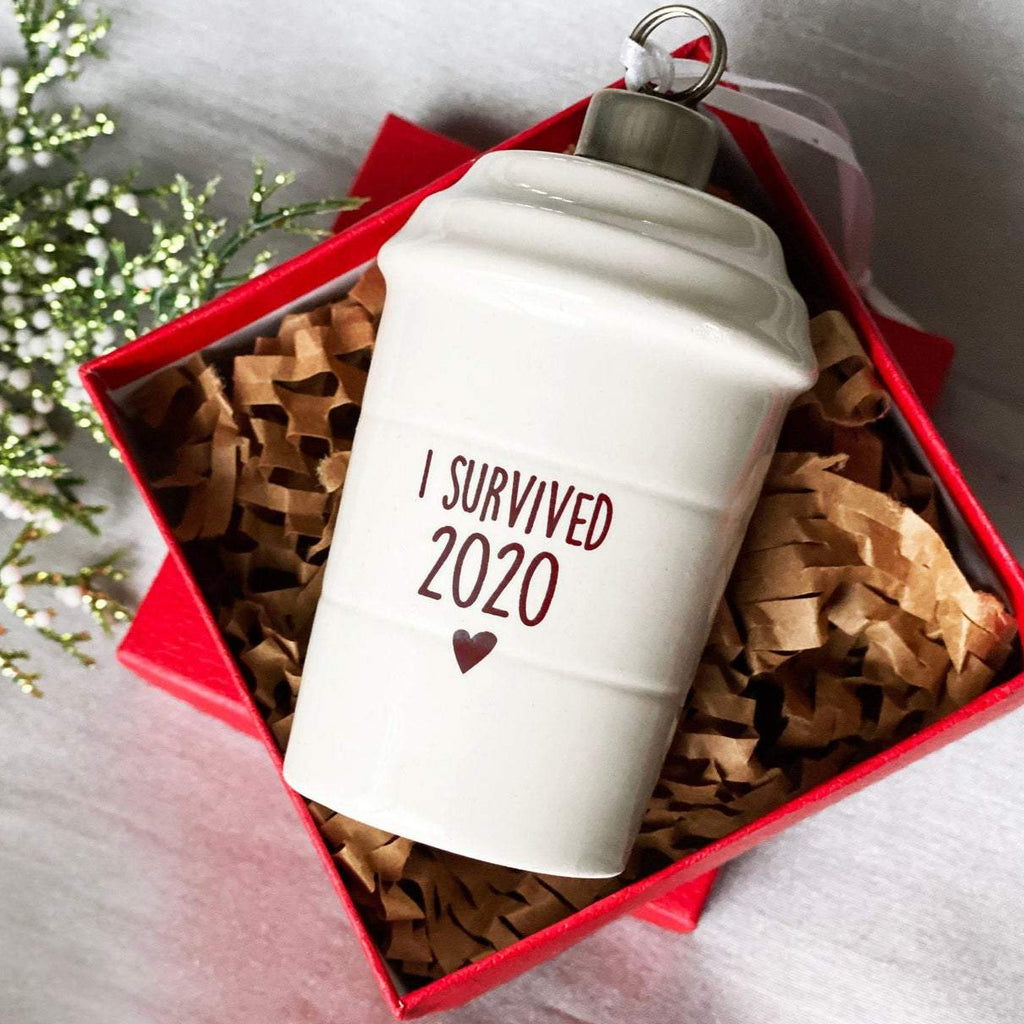I Survived 2021 Christmas Ornament, COVID Ornament, Coffee Mug Ornament, Funny Christmas Ornament, Coffee Lover Gift, Funny Christmas Gift
