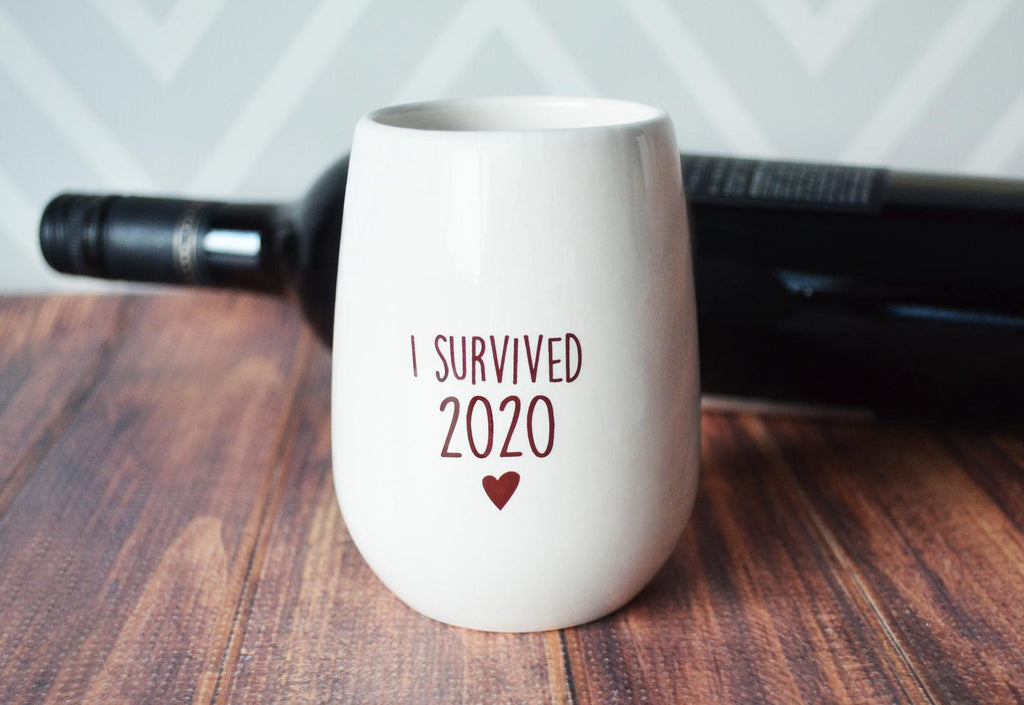 I Survived 2021 Stemless Wine Glass, Covid Gift, Wine Lover Gift, Funny Christmas Gift, Gifts for Her, Funny Wine Glass, Humorous Gift