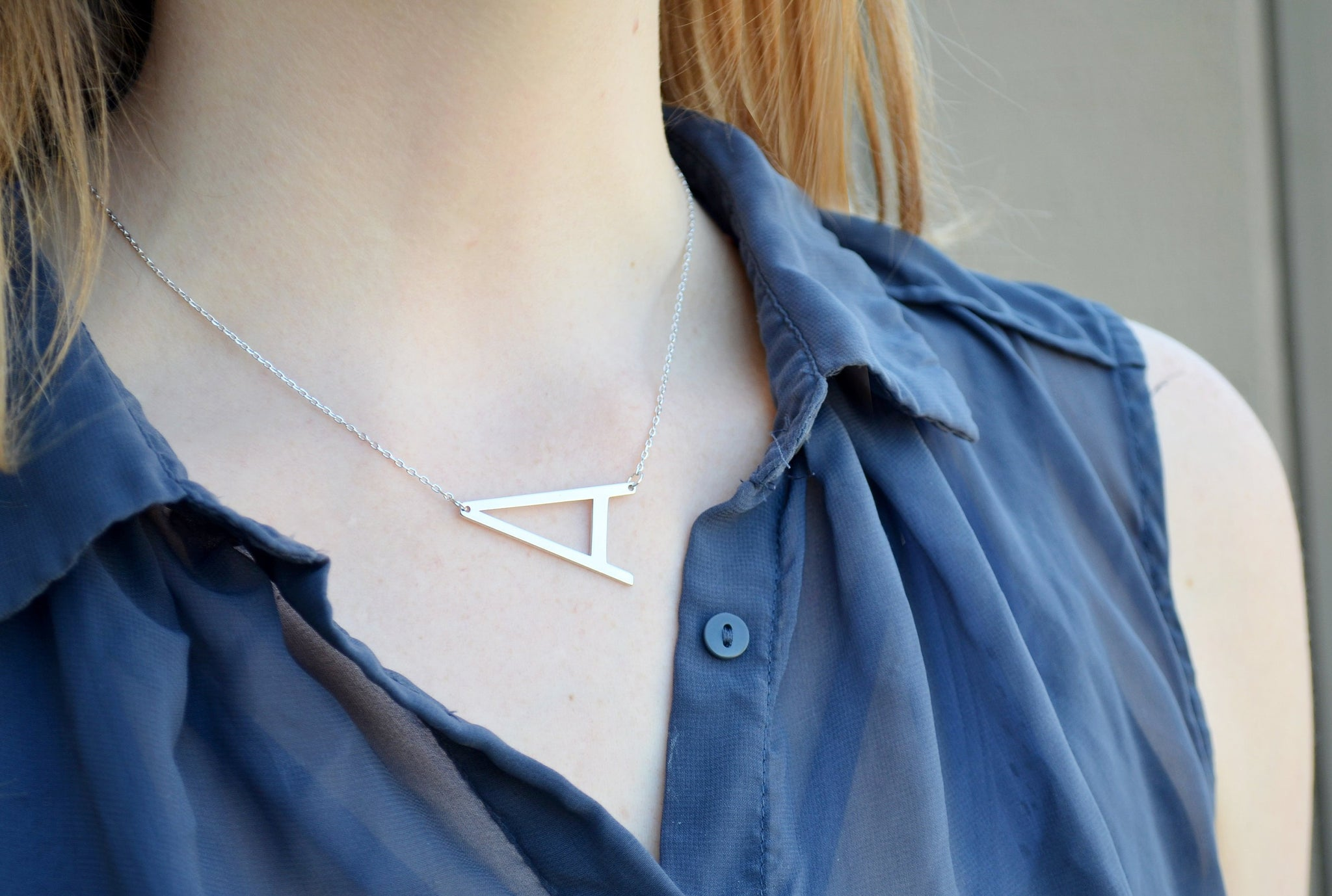 Large Initial Necklace Personalized Sideway Letter Necklace Name Initial Necklace Birthday Gifts for Her