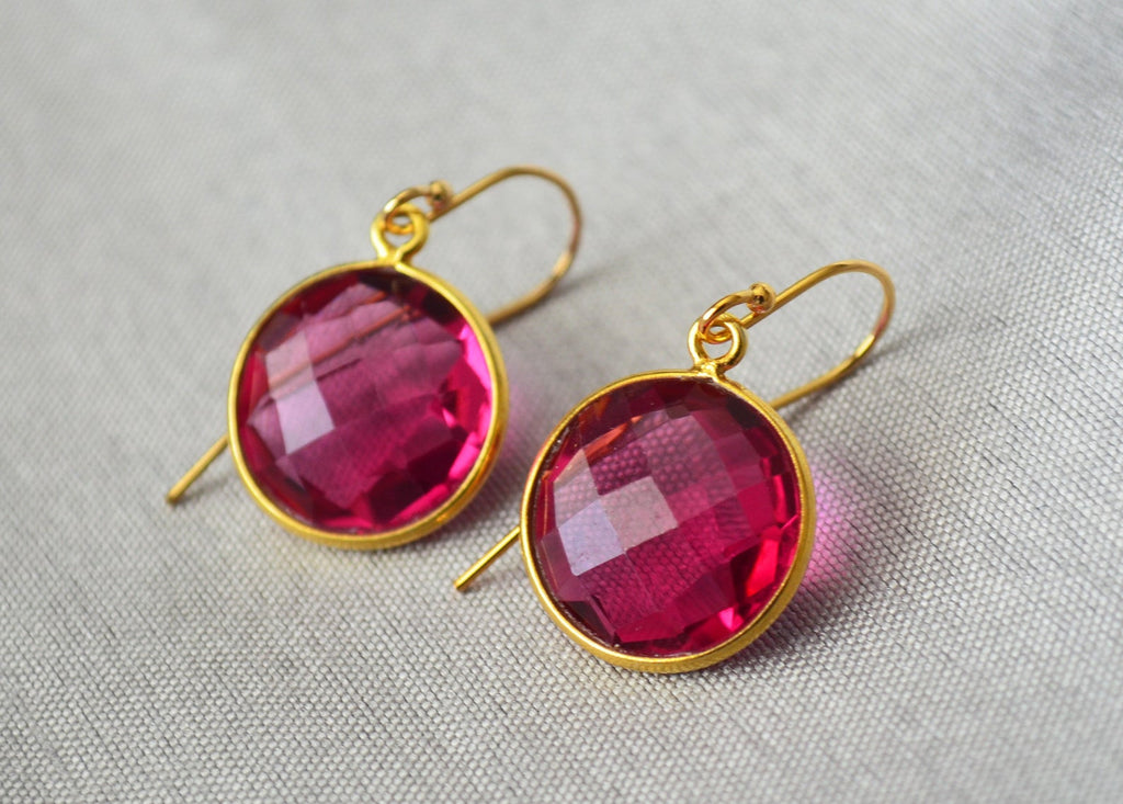 July Birthstone Earrings, Ruby Earrings, July Birthday Gift, Sterling Silver or 14K Gold Fill, Ruby Jewelry, Wife Gift, Bridesmaid Gift