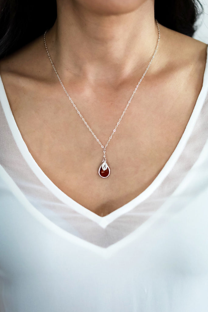 July Birthstone Necklace, Ruby Birthstone Necklace, Bridesmaid Gift, Mom Birthstone Necklace, Initial Necklace, Mom Gift, Grandma Necklace