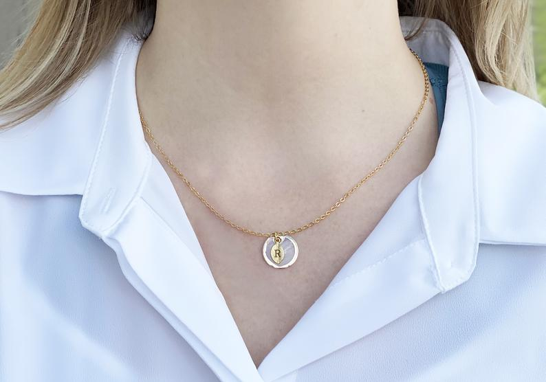 June Birthstone Necklace, Mother-of-pearl Necklace, Shell Pendant, Personalized Necklace, Bridesmaid Necklace, Initial Necklace