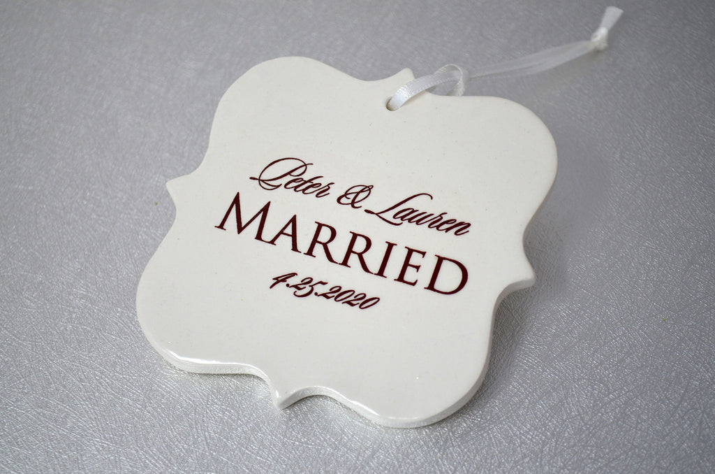 Just Married Ornament, Our First Christmas, Wedding Ornament, Newlywed Ornament - Christmas Gift