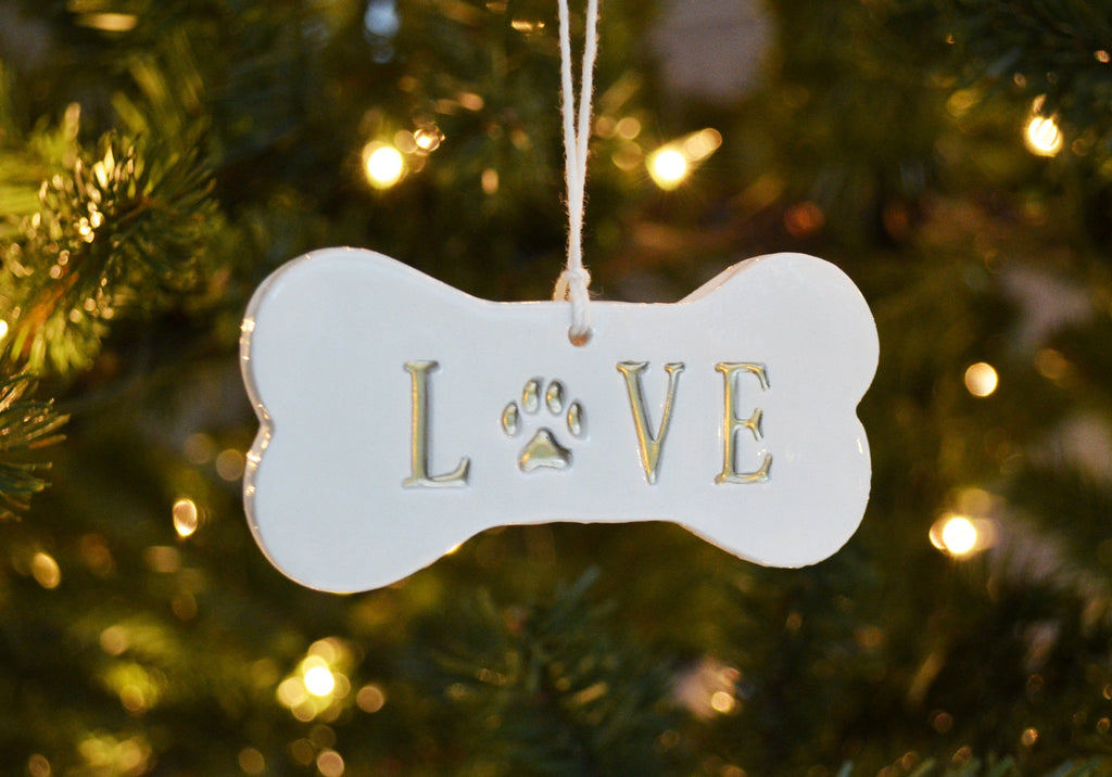 LOVE Dog Christmas Ornament, Dog Ornament, Dog Bone Ornament, Christmas Pet Ornament, Holiday Gift for Dog Lovers, Dog Gift