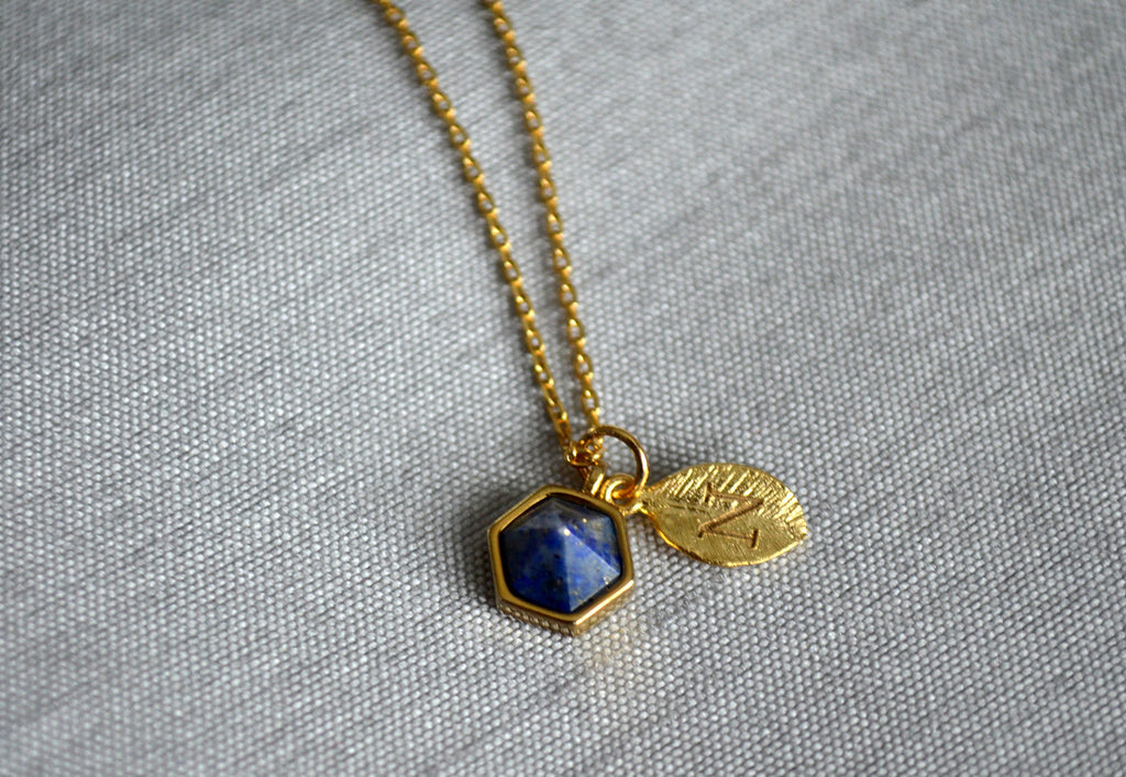 Lapis Necklace, Bridesmaid Necklace, Custom Initial Necklace, Leaf Necklace, Letter Necklace, Gift for her, Cobalt Blue Hexagon Necklace
