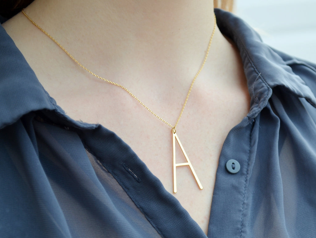 Large Initial Necklace, Hammered Large Letter Necklace, Birthstone Necklace, Oversized initial