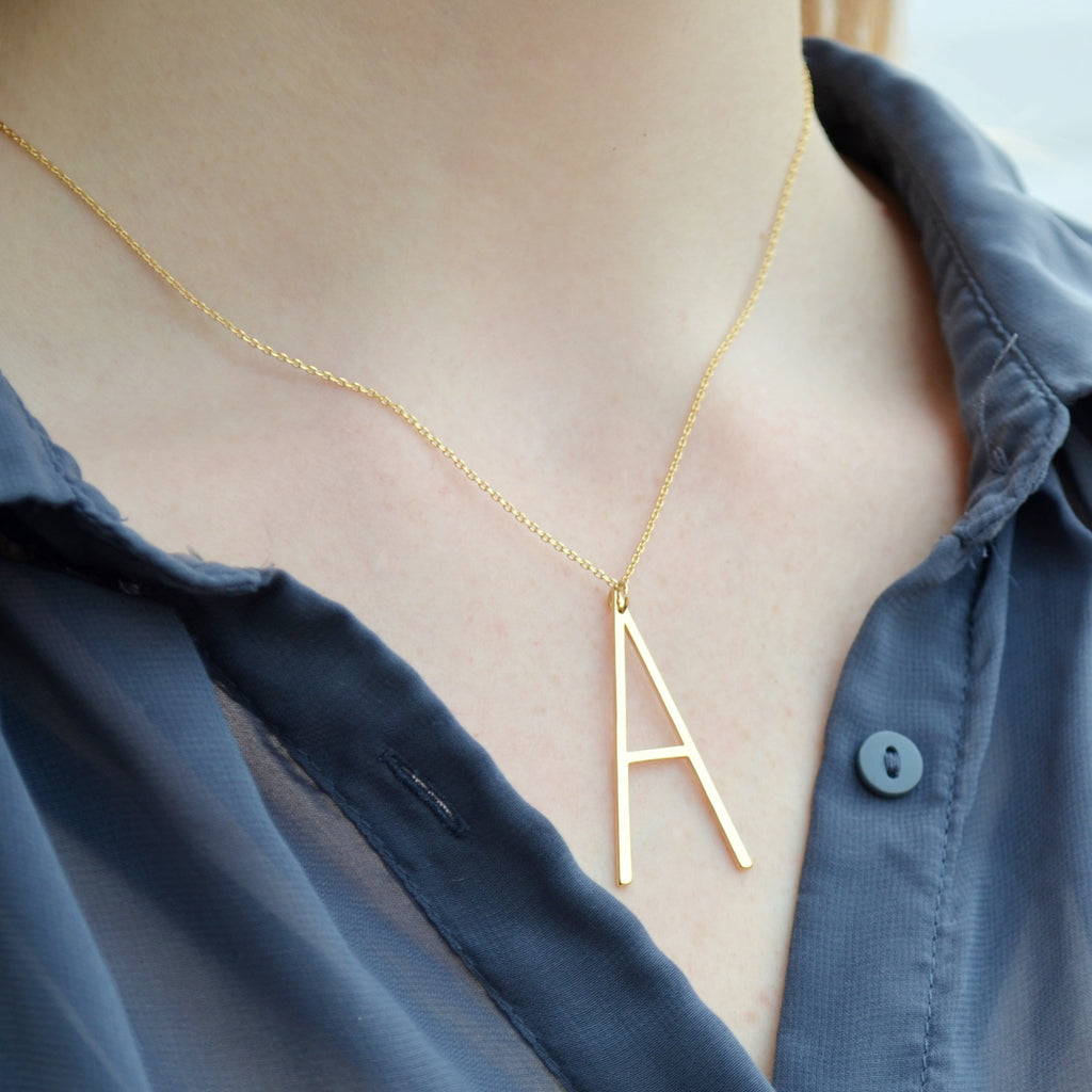 Large Initial Necklace, Hammered Large Letter Necklace, Birthstone Necklace, Oversized initial, Bridesmaid Gift, Friend Birthday Gift