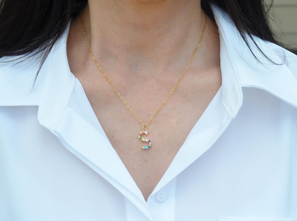 Letter Necklace, Initial Necklace, Friend Gift, Mom Gift, 18K Gold Plated Rainbow Necklace