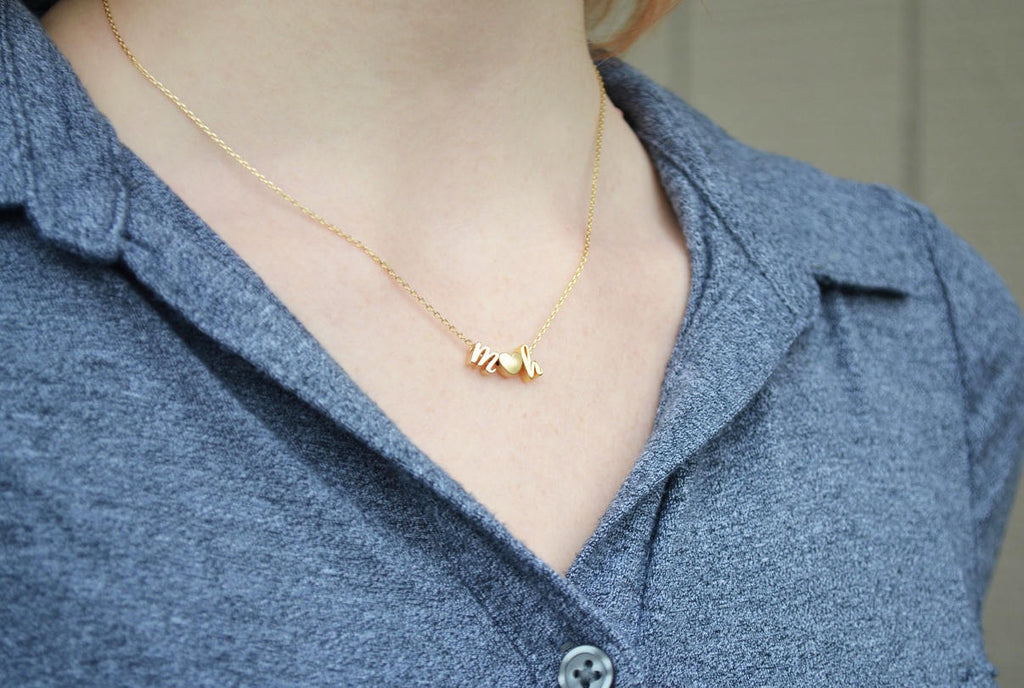 Letter Necklace, Personalized Initial Necklace - In Gold or Silver - Serif Letter Style