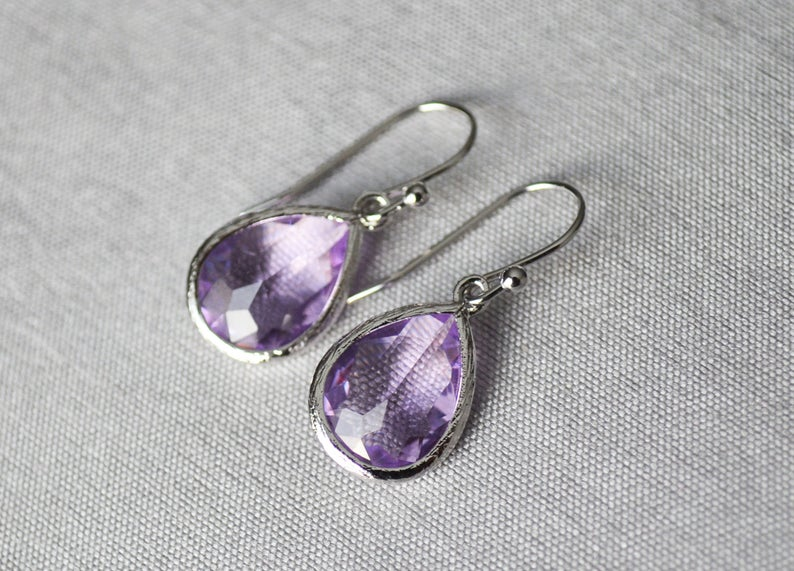Lilac earrings, February Birthstone Gift, Lilac Birthstone earrings, Bridesmaid earrings, Lilac earrings Birthday Gift for Her