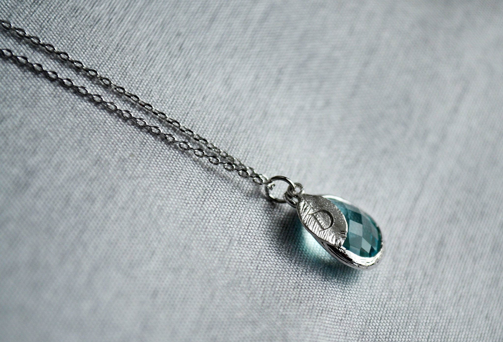 gift for her Aquamarine necklace anniversary gift March birthstone 925 silver necklace wife gift birthday gift delicate necklace