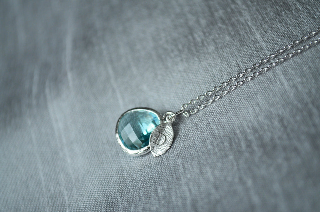 March Birthstone Necklace - Personalized Aquamarine Necklace, Custom Initial Necklace, Silver