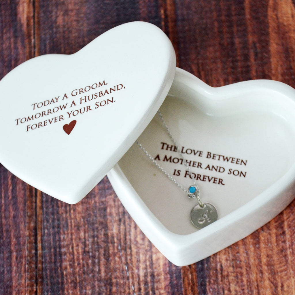 Mother of the Groom Gift, Gift From Groom to Mom With Necklace - Add Custom Text - Heart Keepsake Box - Today a Groom, Tomorrow a Husband, Forever Your Son