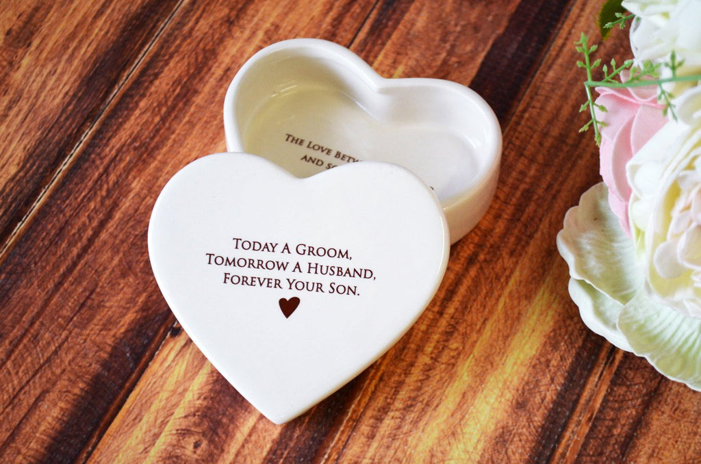 Mother of the Groom Gift, Gift From Groom to Mom With Necklace - Heart Keepsake Box - Today a Groom, Tomorrow a Husband, Forever Your Son