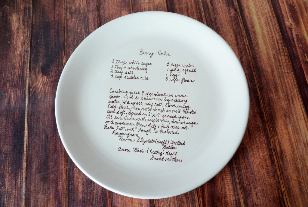 Mother's Day Gift, Mom Gift, Gift for Mom, Mom Birthday Gift, Birthday Gift for Mom - Large Personalized Round Plate with Recipe