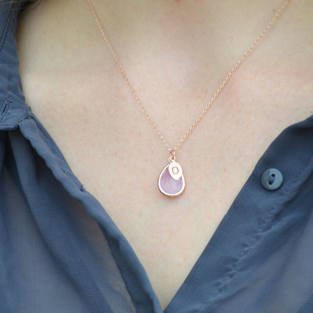 October Birthstone Necklace, Pink Opal Necklace, Personalized Bridesmaid Necklace, Custom Initial Necklace, Gift for Her, Pink Opal Jewelry