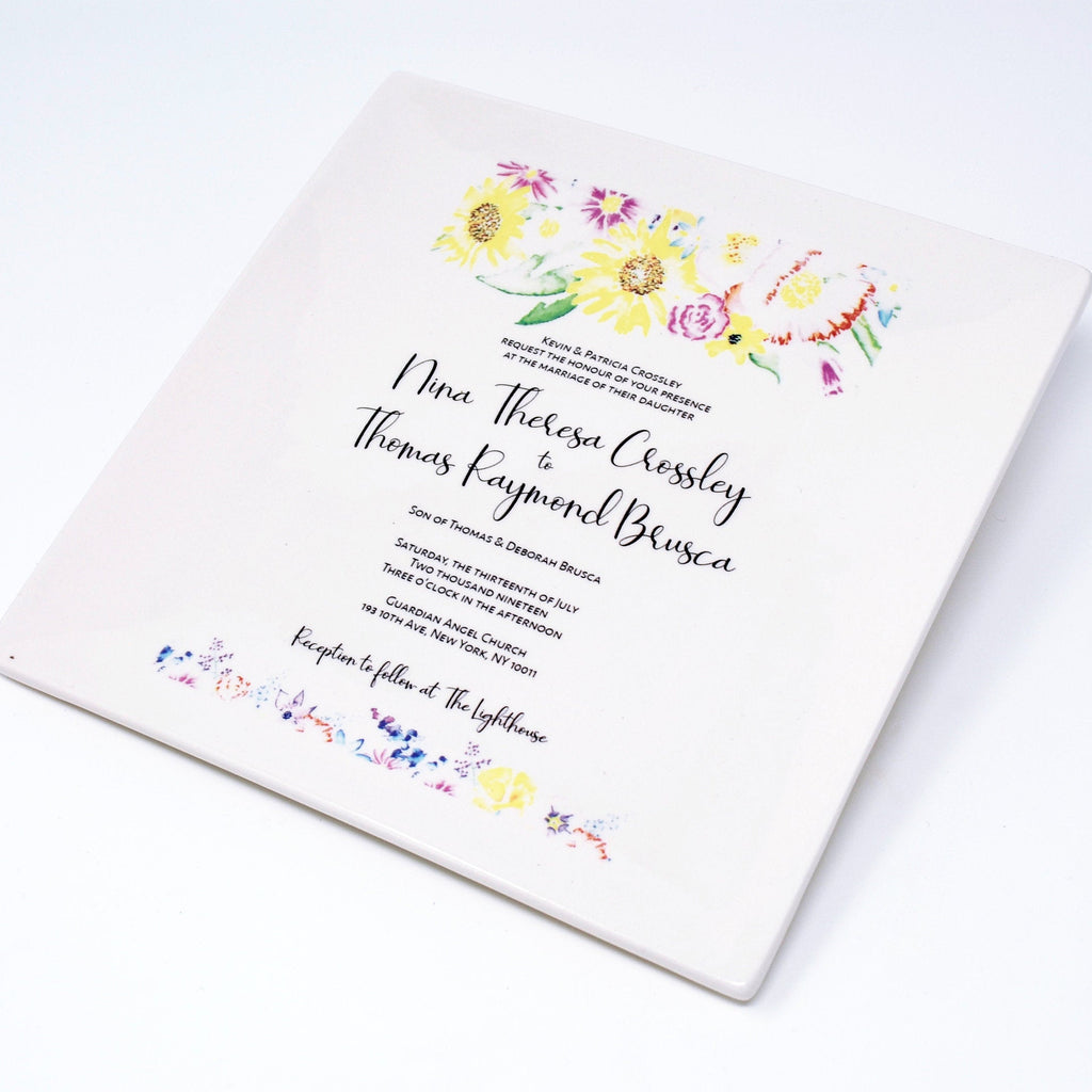 Set of 2 - Wedding Invitation Plates - Parent Wedding Gift - Wedding Gift, Wedding Present