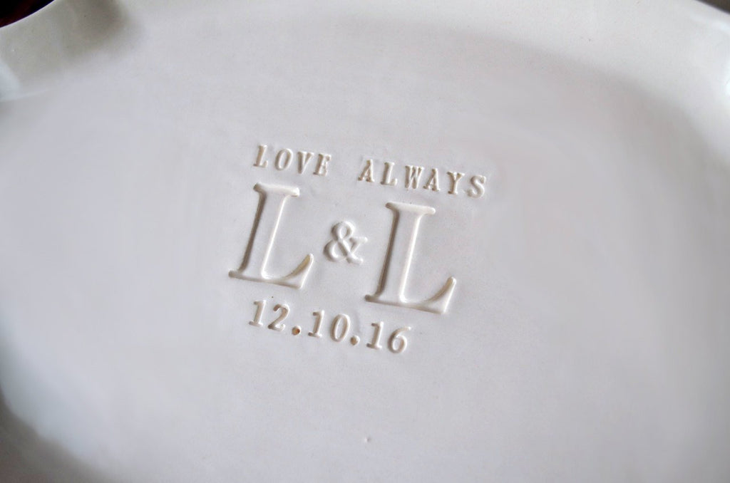 Parent Wedding Gift - Set of Personalized Platters (2) - With Initials and Date - Gift Boxed