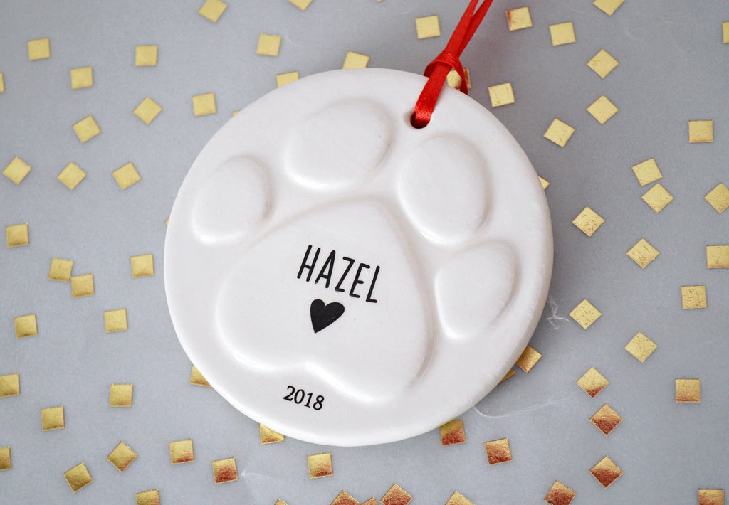 Paw Print Christmas Ornament with Name, Dog Bone Ornament,  Personalized Dog Ornament