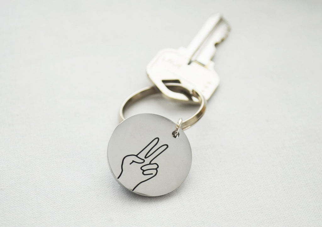 Peace Keychain, Peace Sign gift, Peace Out, Hand Gestures Keyring, Fun Gift for Friends, Key Holder, Available in other Gestures