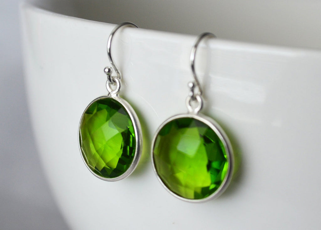 Peridot Earrings, August Birthstone Earrings, Green Earrings, Sterling Silver or 14K Gold Fill, Ruby Jewelry, Wife Gift, Bridesmaid Gift
