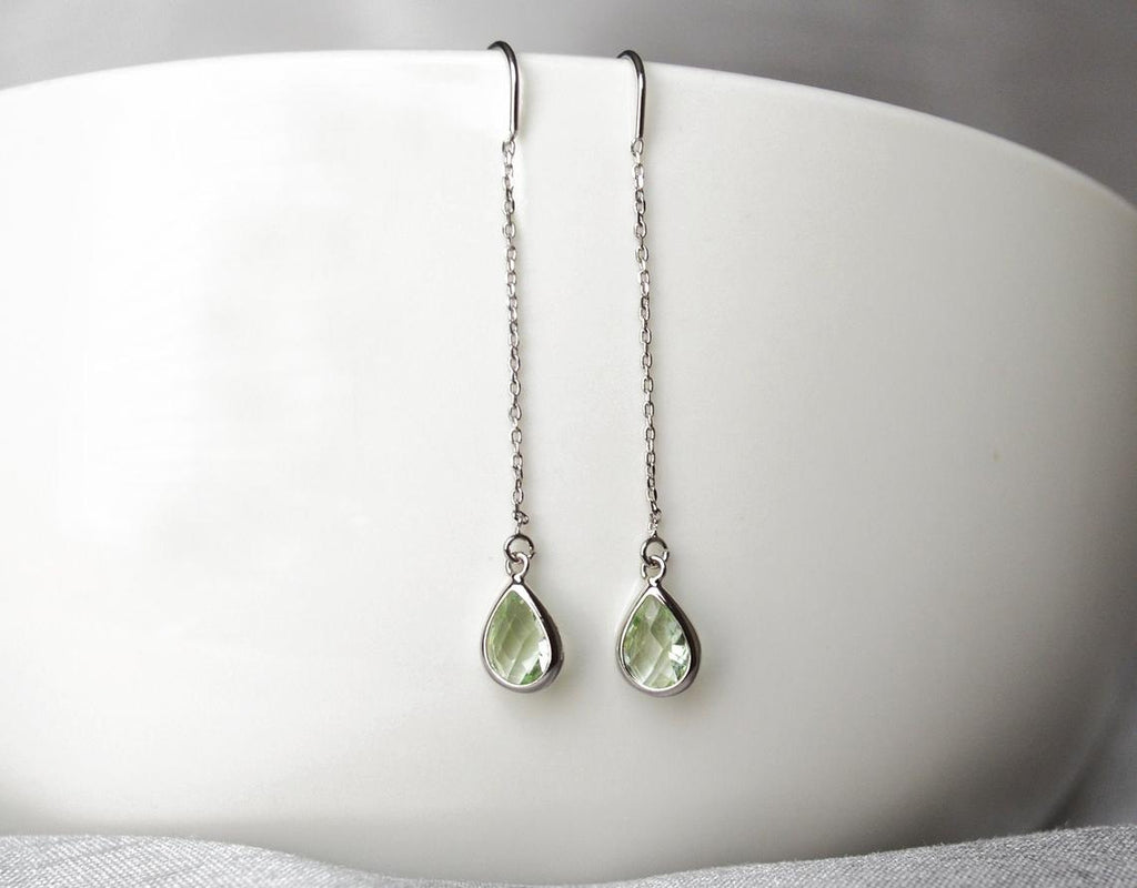 Peridot Threader Drop earrings, Light Green August Birthstone earrings, Peridot Drop earrings, Bridesmaid earrings, August Birthday Gift