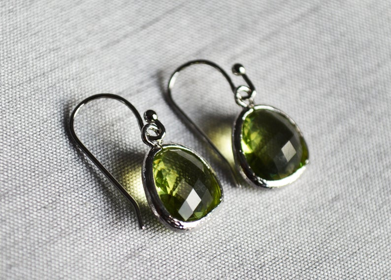 Peridot Earrings, August Birthstone Gift,  August Birthstone earrings, Peridot Jewelry Set
