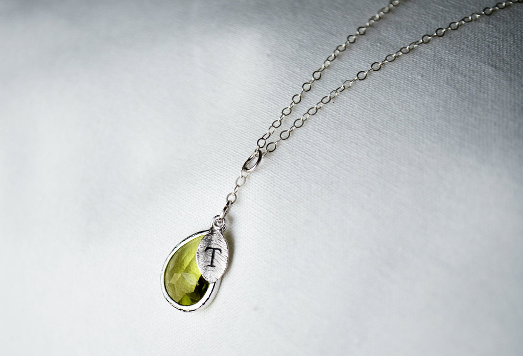Peridot Necklace, August Birthstone Necklace, Bridesmaid Gift, Mom Birthstone Necklace, Initial Necklace, Mom Gift, Grandma Necklace