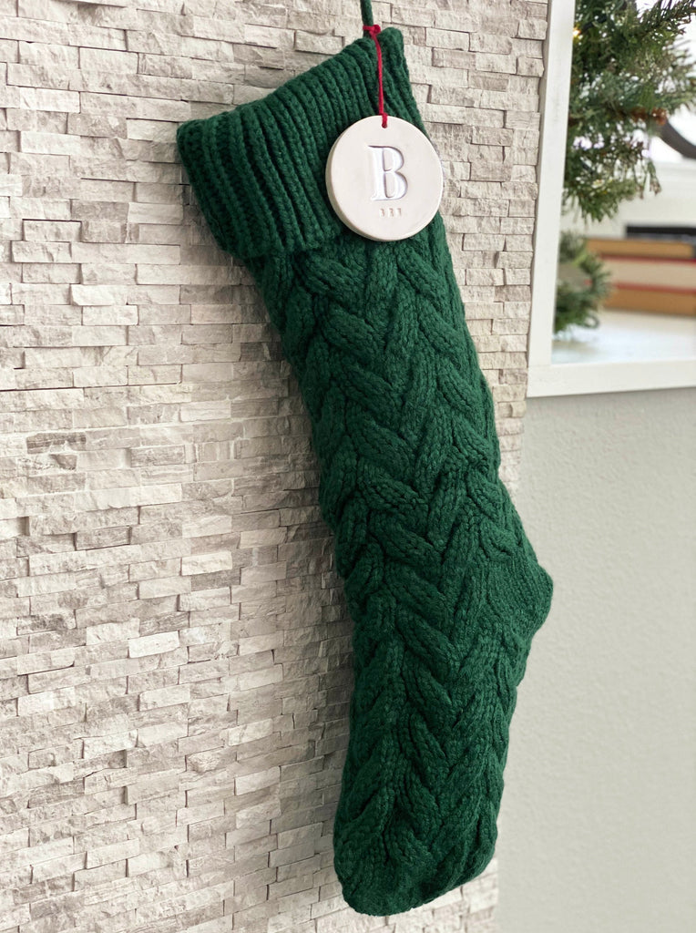 Personalized Green Christmas Stocking, Knitted Holiday Stocking, Customized w/Initial & Name, Available in Different Colors, Christmas Gift