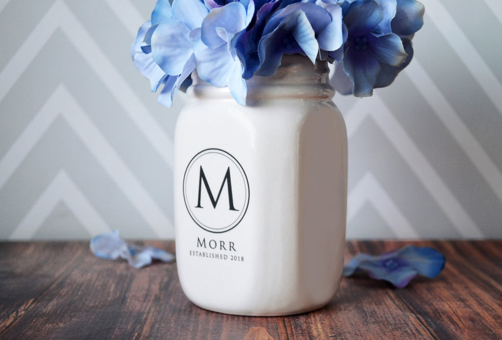 Anniversary Gift, Wedding Gift or Housewarming Gift - Mason Jar Vase - Personalized - Comes with Gift Box