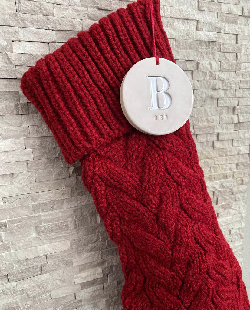 Personalized Red Christmas Stocking, Knitted Holiday Stocking, Customized w/Initial and Name, Available in Different Colors, Christmas Gift