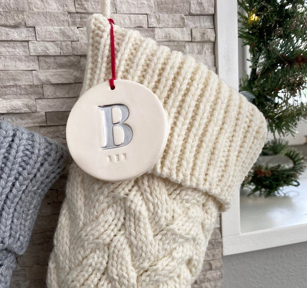 Personalized White Christmas Stocking, Knitted Holiday Stocking, Customized w/Initial and Name, Available Different Colors, Christmas Gift