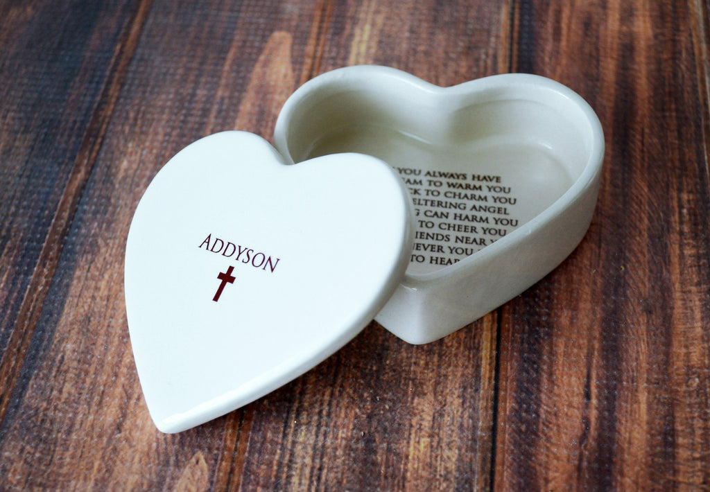 Personalized Baptism Gift, First Communion Gift, Confirmation Gift, Godchild Gift w/Bracelet or Necklace -Irish Blessing -Heart Keepsake Box