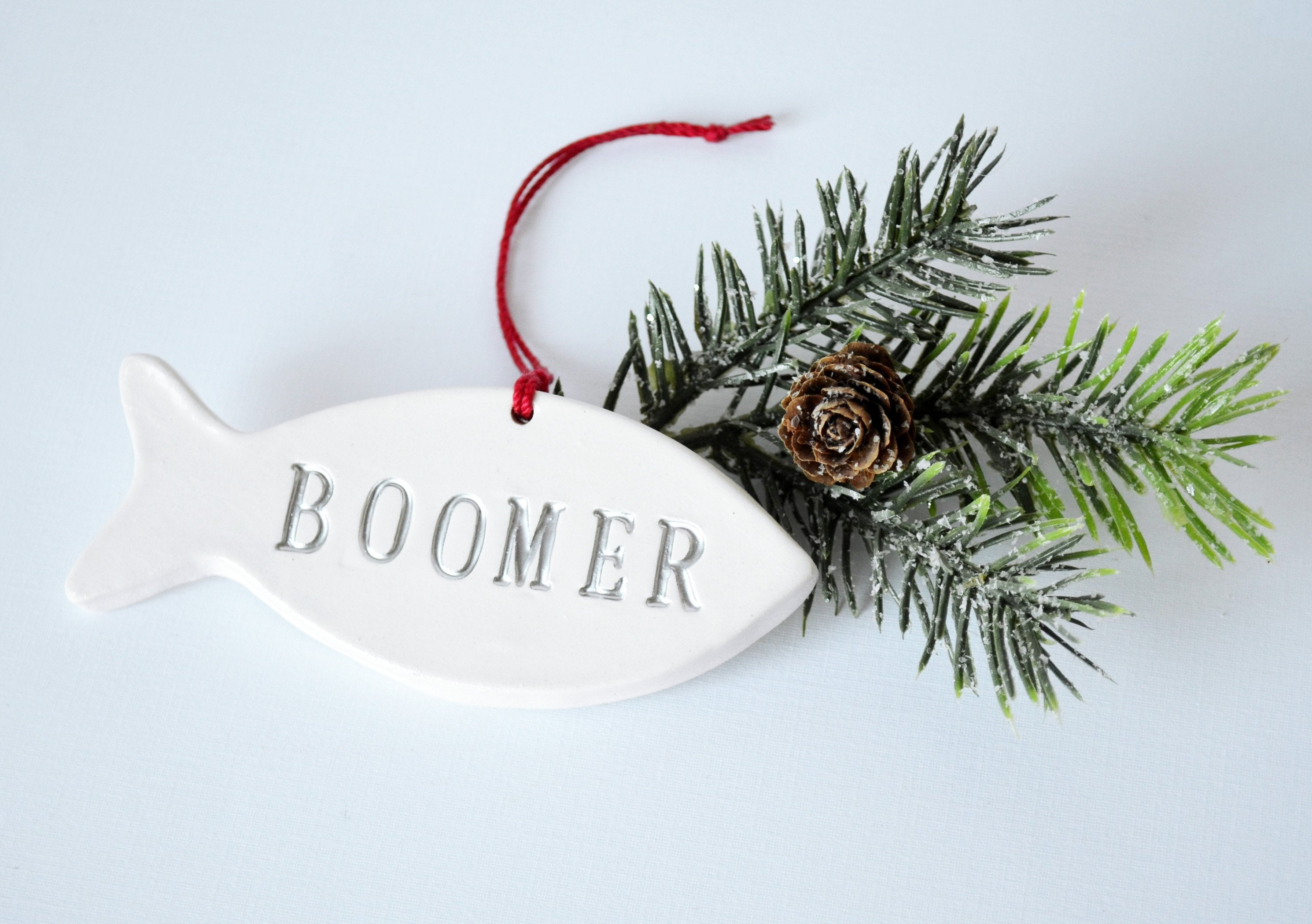 Personalized Cat Christmas Ornament with Name, Fish Shaped Ornament ...