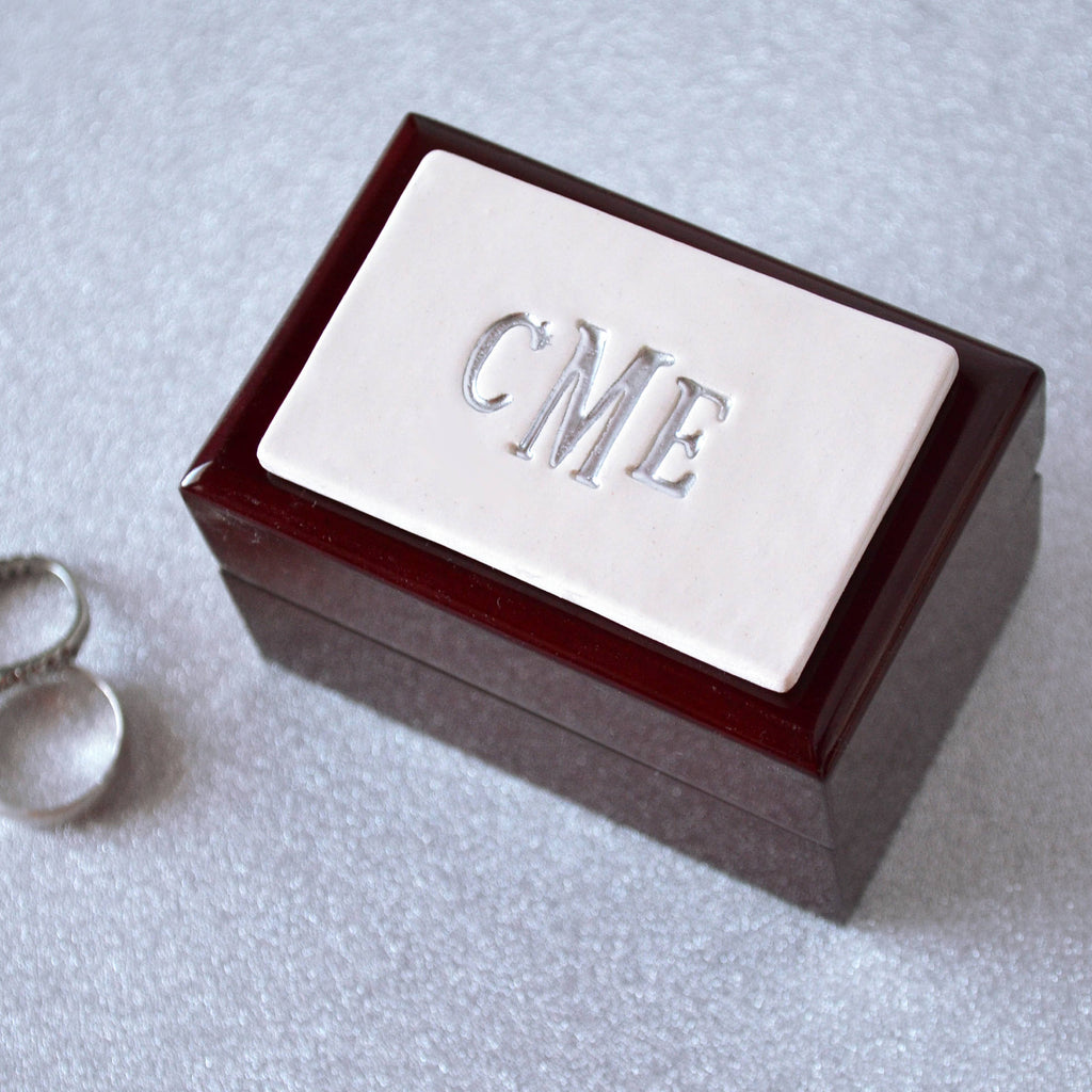 Personalized Double Ring Box or Ring Bearer Box - Rosewood Finish - Text Available in Different Colors