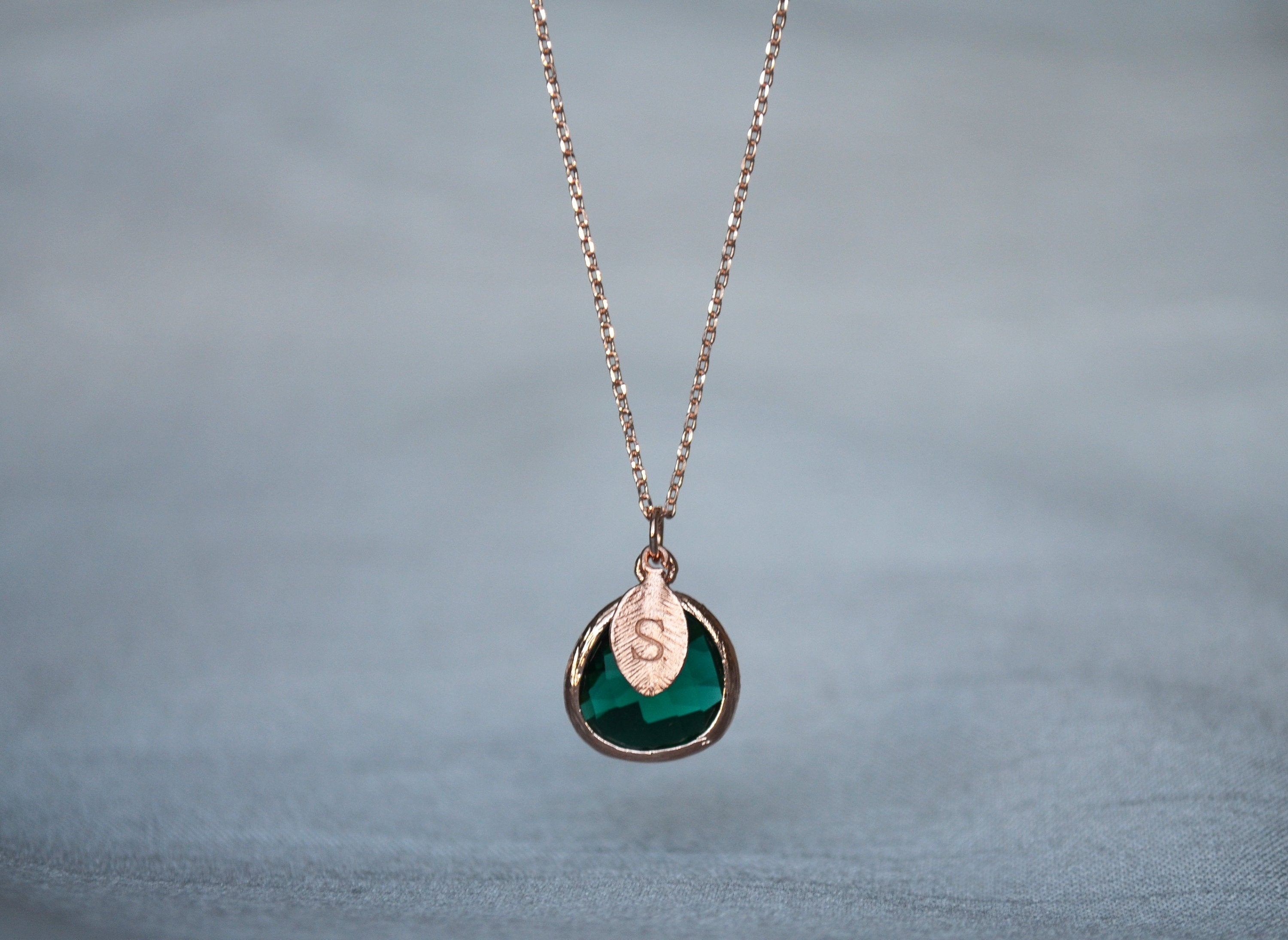 Personalized Emerald Necklace, Bridesmaid Necklace, May ...
