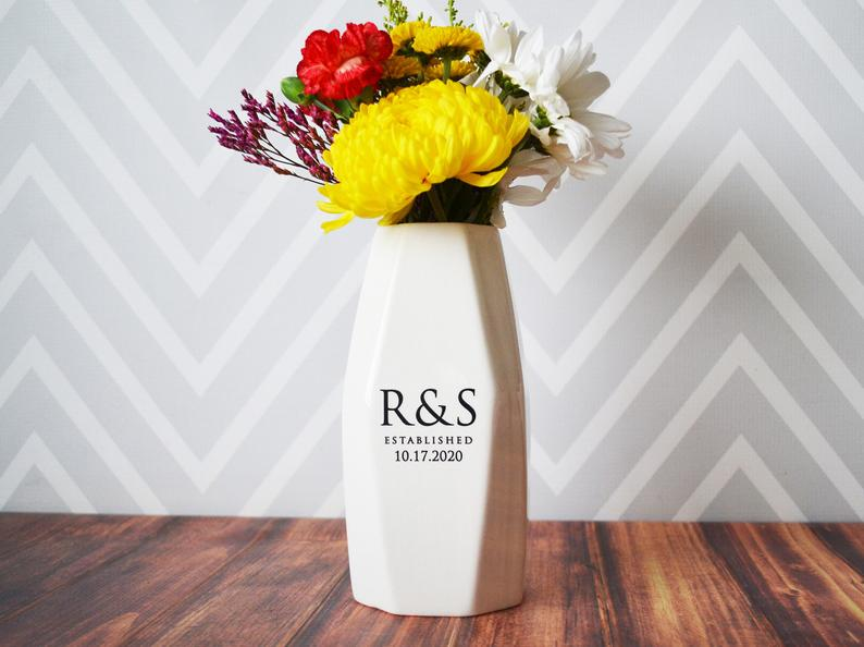 Personalized Geometric Vase - Anniversary Gift, Engagement Gift, Wedding gift, Hostess Gift or Housewarming Gift - Modern Vase