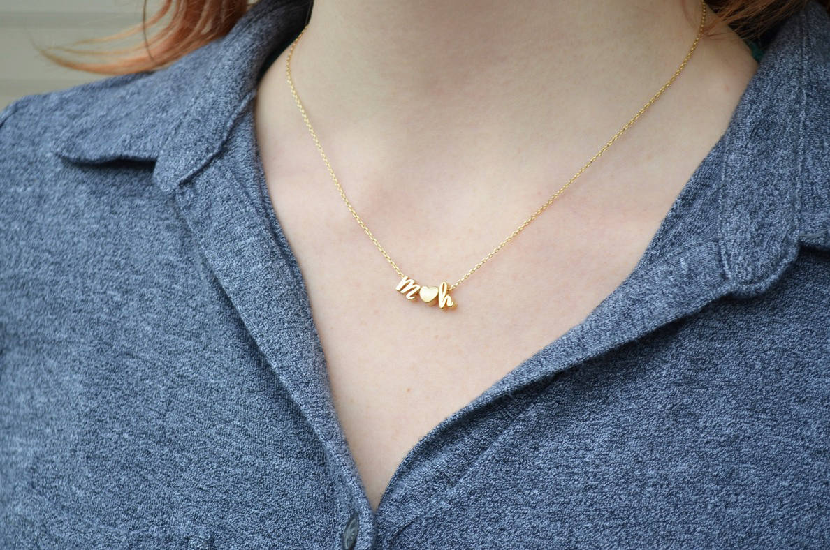 Gift for Her SN0090 Initial Necklace Gold Custom Personalized Letter Monogram Sterling Silver
