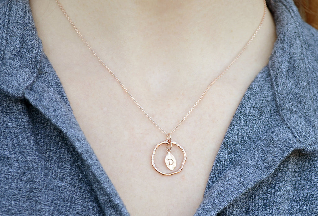 Personalized Initial Necklace, Letter Necklace, Wood Textured Ring, Rose Gold